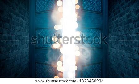 Open double doors, dark brick walls, magic lights, neon lights. 3D illustration. Photo stock ©