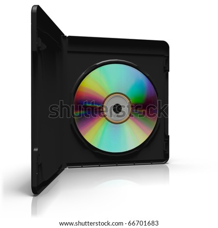 Open DVD box with disc on white background