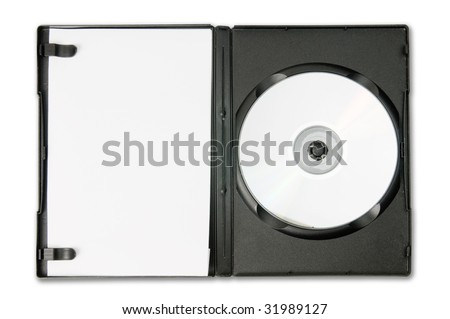 Open DVD case isolated on a white