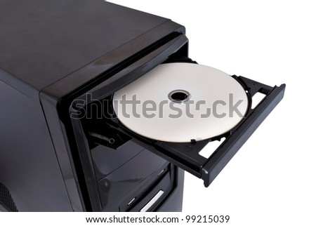 open dvd rom on a white background