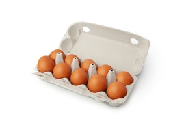 Open egg box with ten brown eggs isolated on white background. Fresh organic chicken eggs in carton pack or egg container with copy space