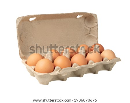 Open egg box with ten brown eggs isolated on white background with clipping path. Fresh organic chicken eggs in carton pack or egg container with copy space