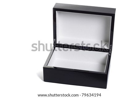 Open empty black jewelry box isolated on white background