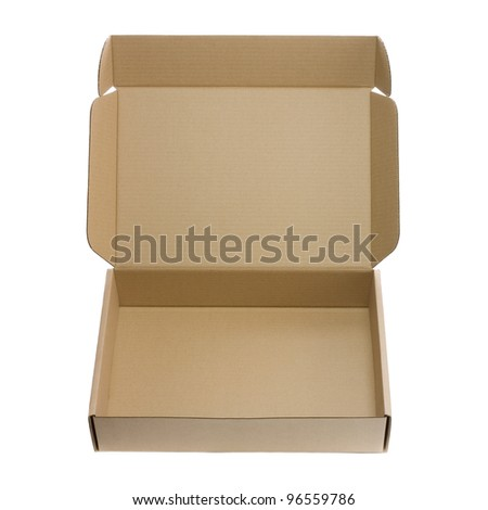 Open empty box isolated on white background - stock photo