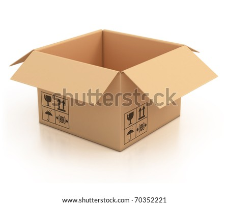 open empty cardboard box 3d illustration, isolated on white background