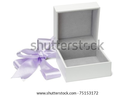 Open empty gift box and cut bow ribbon on white background