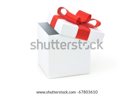 Open empty gift box and red bow. Isolated. - stock photo