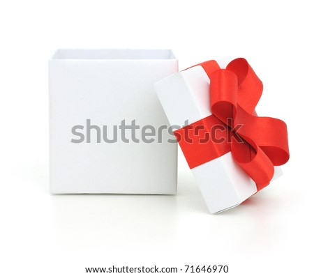 Open empty gift box and red bow. Isolated.