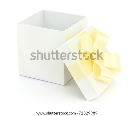 Open empty gift box and yellow bow. Isolated.