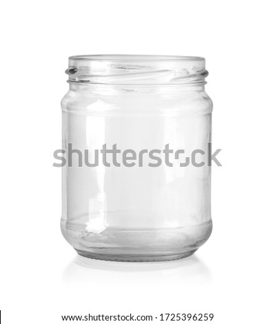 Open empty glass jar for food and canned food. Isolated on white background with clipping path Zdjęcia stock ©