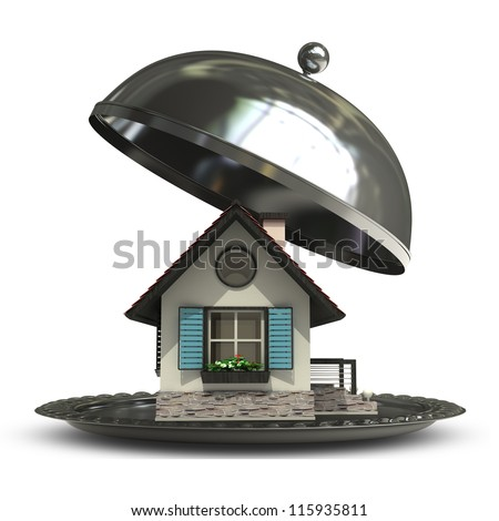 open empty metal silver platter or cloche with house  isolated on white background 3d render