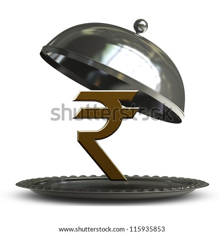 open empty metal silver platter or cloche with Indian rupee symbol isolated on white background 3d render