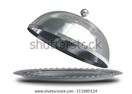 open empty metal silver platter or cloche with space to place object  isolated on white background 3d render