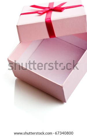 Open empty pink gift box isolated over white