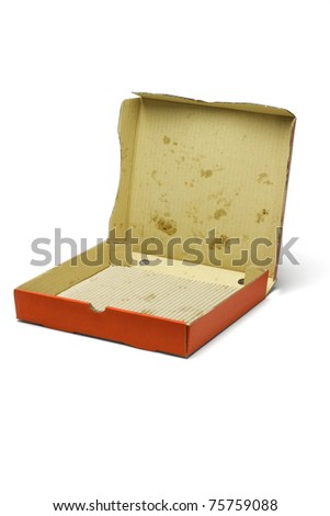 Open empty pizza delivery box on white background