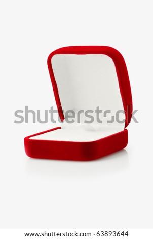 Open empty red velvet gift box