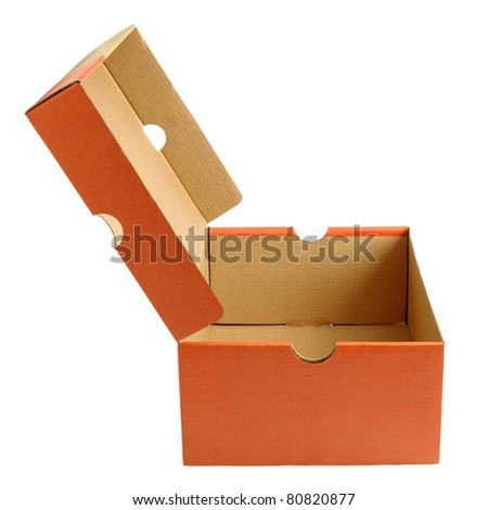 Open empty shoe cardboard box isolated on white background