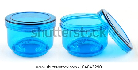 Open empty transparent plastic box on white background