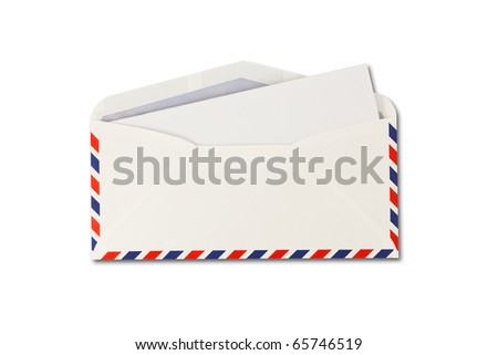 open Envelope by air mail and paper  isolated on white background
