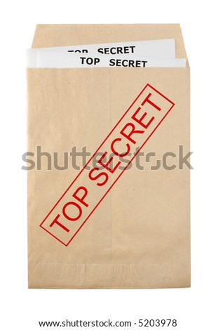 open envelope for document with top secret stamp and documents