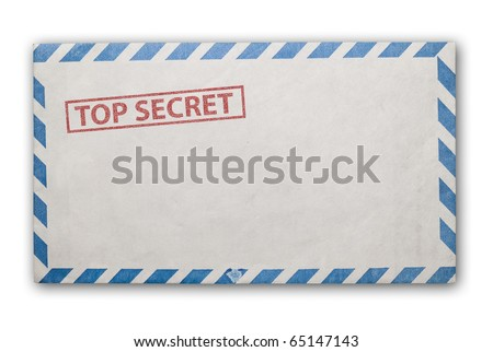 Open  envelope with top secret stamp, clipping path excludes the shadow.