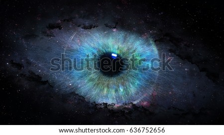 open eye in space; 3d illustration