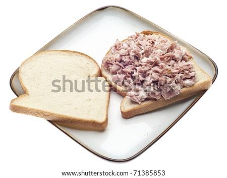 Open Face Tuna Salad Sandwich Healthy Lunch. - stock photo