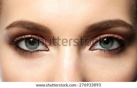 Open female blue eye with makeup with brown eyebrows and black lashes