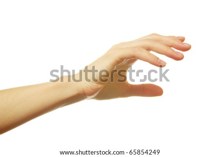 open female hand isolated on a white background