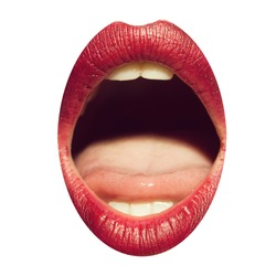 Open female mouth with sexy pink lips tongue and teeth isolated on white background closeup