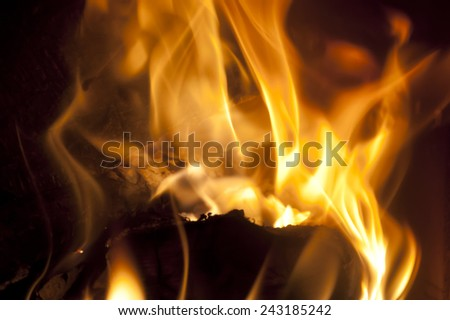Open Fire on a Fire Place