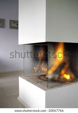 open fire place in living room