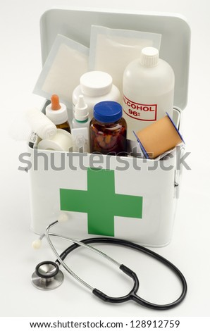 Open first aid kit filled with medical supplies in white background