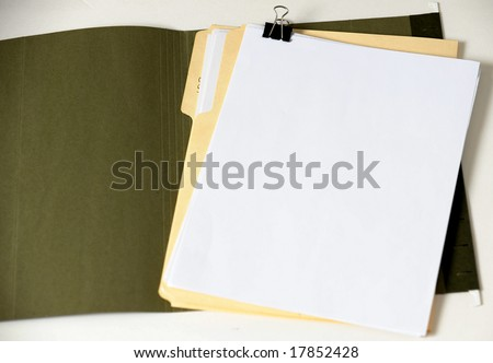 open folder with blank document or contract