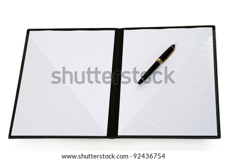 Open folder with blank paper isolated on white background #92436754