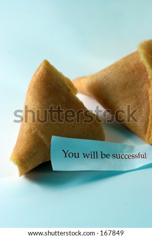 Open fortune cookie with the message you will be successful