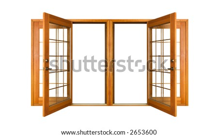 Open French doors isolated on white.