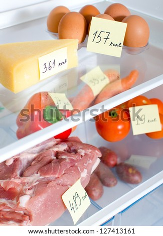 Open fridge full of fruits, vegetables and meat with marked calories