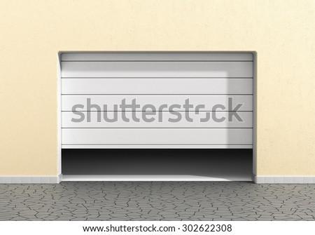 Open garage door at a modern building. Garage concept.