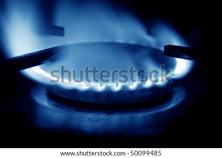 open gas flame blue tones
