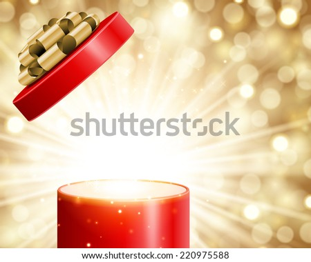 Open gift box and magic light fireworks Christmas background. Raster version.