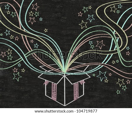 Open gift box and ribbon ribbons colorful written on blackboard background high resolution, easy to use