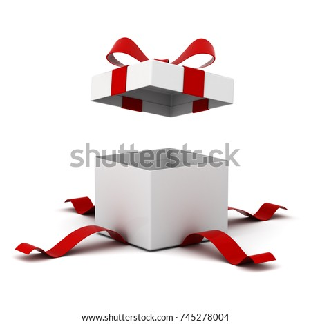 Open gift box , present box with red ribbon bow isolated on white background with shadow . 3D rendering.