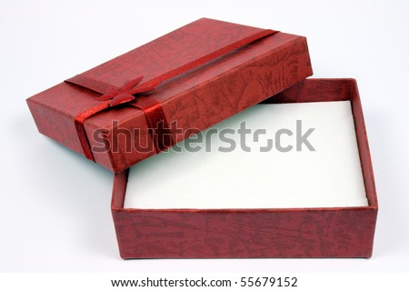 open gift box with a wine-red colour