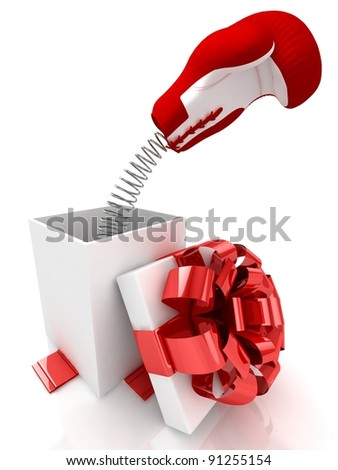 Open Gift box with joke surprise over white background. 3d illustration.