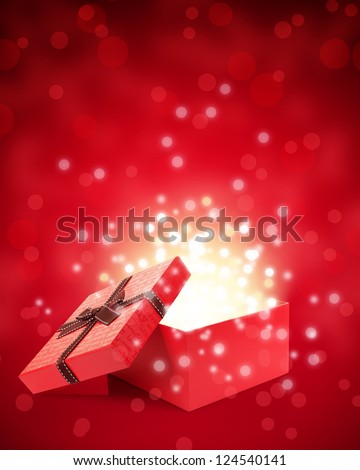 open gift box with light inside out