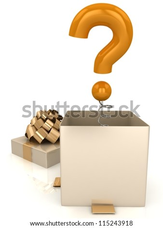 Open gift box with question mark