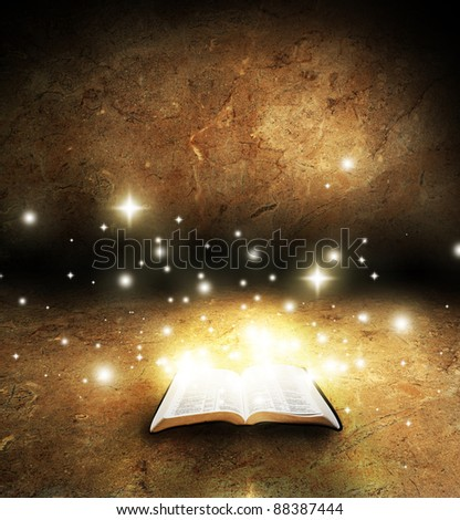 Open Glowing Bible - stock photo