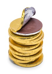 Open Gold Coin Chocolate Stack Isolated on White.