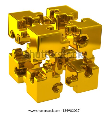 Open gold puzzle cube